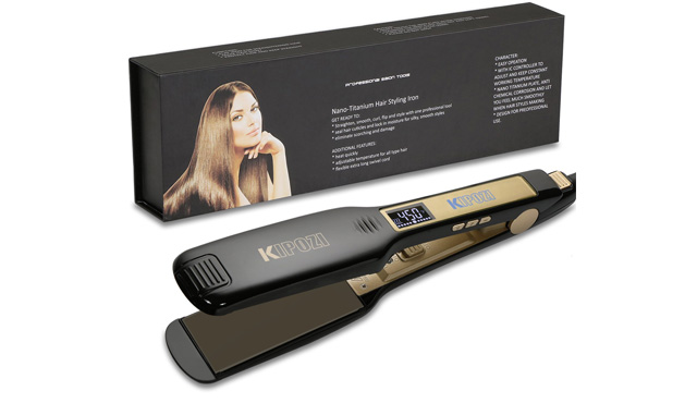 4. KIPOZI Professional Titanium Hair Straightener Flat Iron
