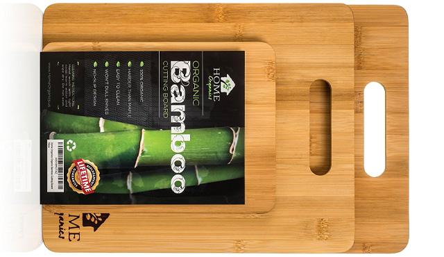 1. Home Organics 3-Piece, Non-Slip Premium Moso Bamboo Cutting Board Set