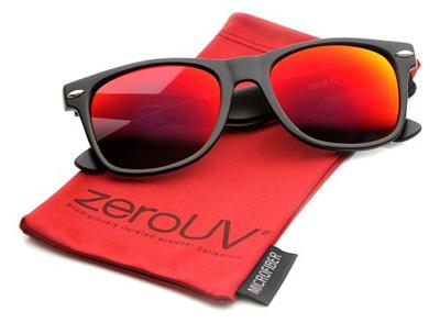 0747f6e1b85 Flat Matte Reflective Revo Color Lens Large Horn Rimmed Style Sunglasses