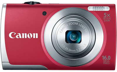9. Canon PowerShot A2500 16MP Digital Camera with 5x Optical Image Stabilized Zoom with 2.7-Inch LCD (Red)