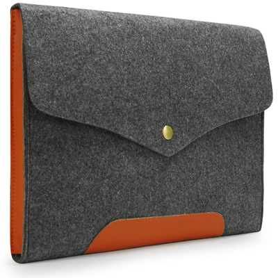 1. Lavievert Gray Felt Case Leather Bottom Bag Magnetic Button Sleeve
