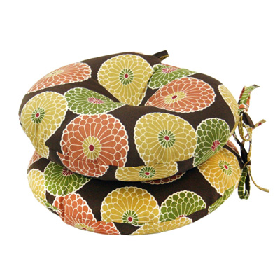 1. Greendale Home Fashions Round Outdoor Bistro Chair Cushion, 15-Inch, Flowers on Chocolate, Set of 2