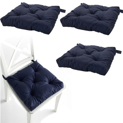 2. Set of 4 Navy Blue Chair Cushions Pads Machine Washable