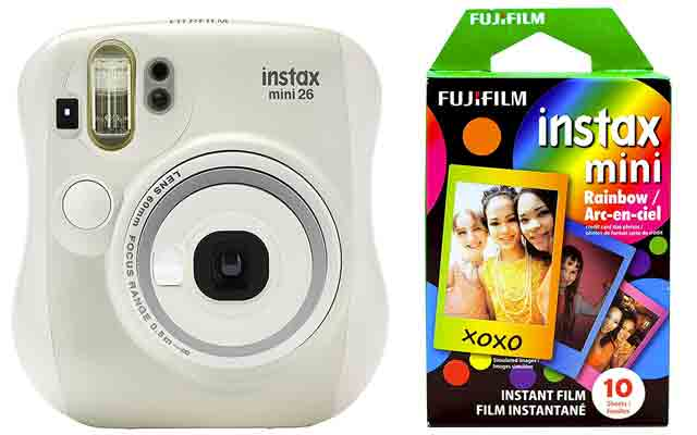 6. Fujifilm Instax Mini 26 + Rainbow Film Bundle - White