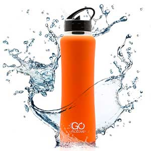 9. GO Bottles Insulated Water Bottle with Stainless Steel Construction, Sweat-Proof Rubber Grip, and Flip Straw