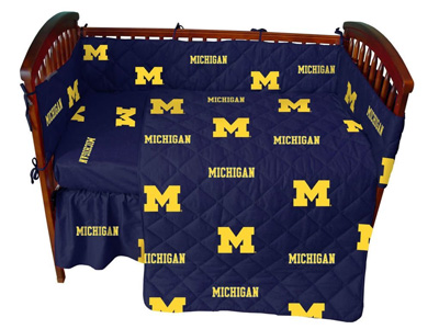 Michigan-5-Pc-Baby-Crib-Logo-Bedding-Set
