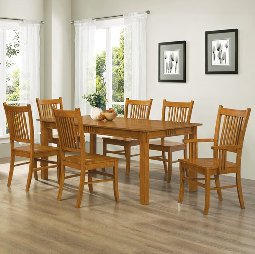 10. 7pc Mission Style Solid Hardwood Dining Table & 6 Chairs Set