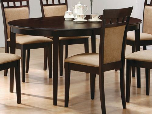 7. Coaster Contemporary Oval Dining Table, Cappuccino Finish