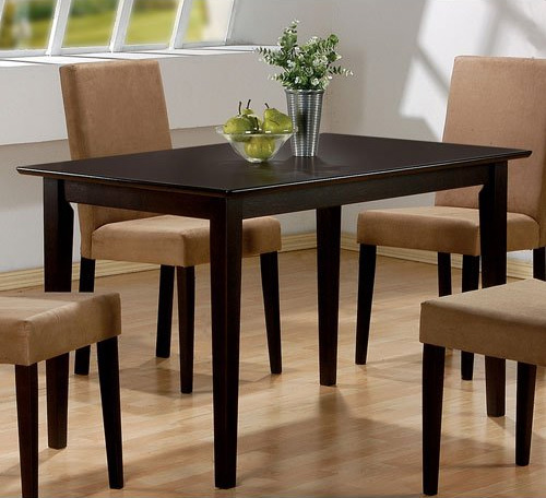 9. Coaster Hyde Rectangular Casual Dining Leg Table in Cappuccino