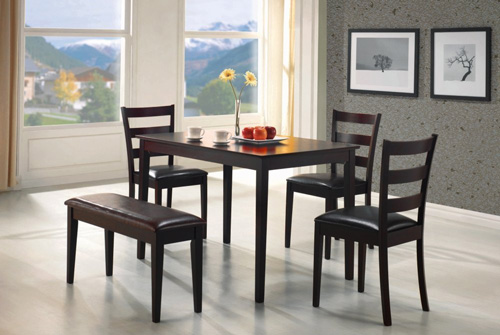2. Coaster 5pc Dining Table, Chairs & Bench Set Cappuccino Finish