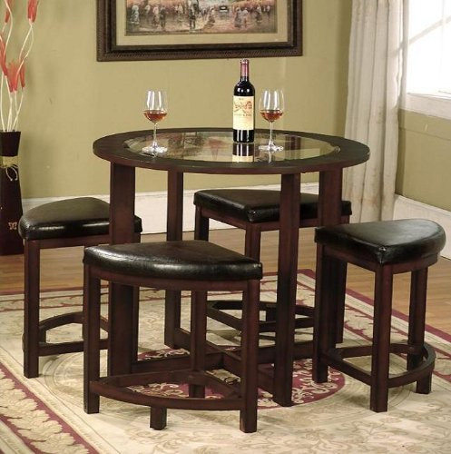 6. Roundhill Furniture Cylina Solid Wood Glass Top Dining Table with 4 Chairs