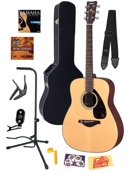 6. Yamaha FG700S Folk Acoustic Guitar Bundle with Hard Case, Strap, Stand, Tuner, Strings, Picks, Capo, String Winder, and Instructional DVD