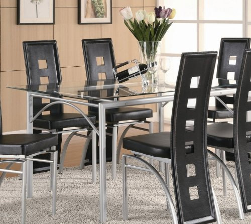 4. Coaster Rectangular Dining Table with Glass Top Metal Legs, Silver Finish