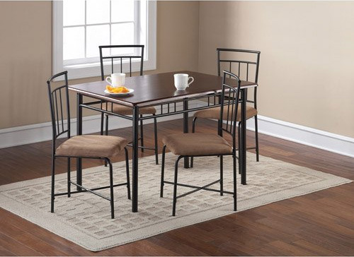 8. Mainstays 5-Piece Wood and Metal Dining Set, Espresso