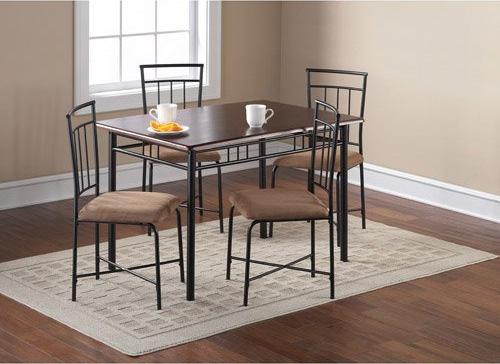 8. Mainstays 5-Piece Wood and Metal Dining Set, Espresso
