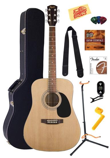 9. Fender Squier Acoustic Guitar Bundle with Gearlux Hardshell Case