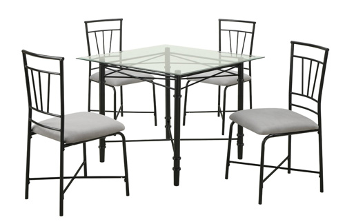 1. Dorel Asia 5-Piece Glass Top Metal Dining Set