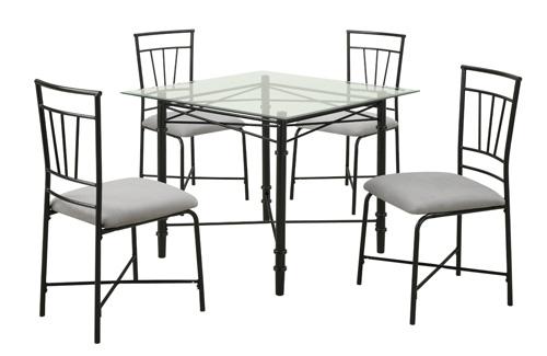 1. Dorel Asia 5-Piece Glass Top Metal Dining Set