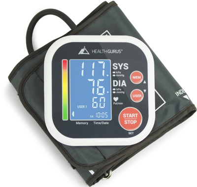 2. Health Gurus Professional Upper Arm Blood Pressure Monitor with Easy-to-Read Backlit LCD, One-Size-Fits-All Cuff and Nylon Storage Case by Greater Goods