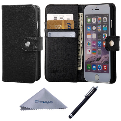 4. iPhone 6 Case, Wisdompro Premium PU Leather 2-in-1 Protective Folio Wallet Case with Credit Card Holder/Slots for Apple iPhone 6