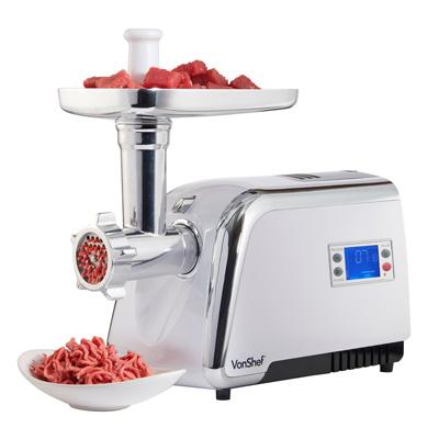 1. VonShef Digital Electric Stainless Steel Meat Grinder Mincer Kebbe Sausage Maker