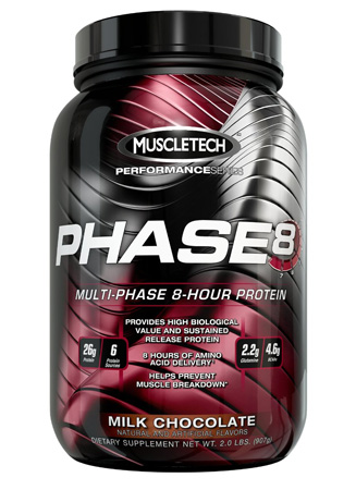 4. Phase8, Milk Chocolate, 2.0 lb., Sustained Release Protein