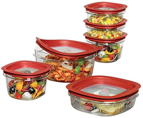 6. Rubbermaid 12-Piece New Premier Food Storage Container Set