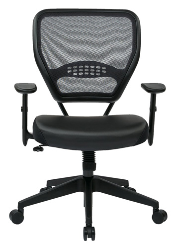 2. SPACE Seating Professional AirGrid Dark Back And Padded Black Eco Leather Seat, 2-to-1 Synchro Tilt Control, Adjustable Arms and Tilt Tension with Nylon Base Managers Chair