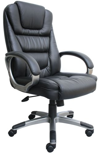 5. Boss Black LeatherPlus Executive Chair