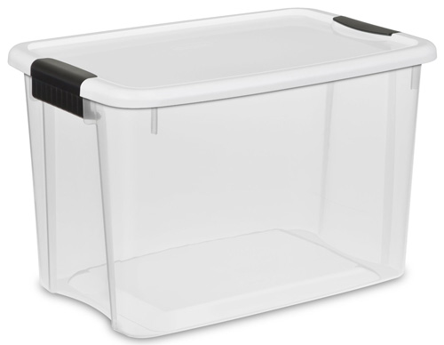 8. Sterilite 19859806 30-Quart Ultra Latch Box, White Lid See-Through Base with Titanium Latches, 6-Pack