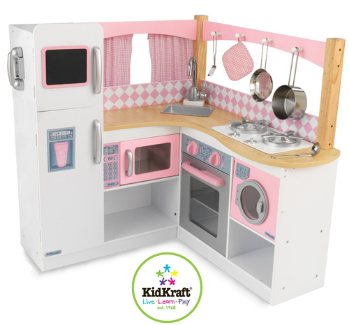 5. KidKraft Grand Gourmet Corner Kitchen4 Metal accessories: 1 pot/1 pan/ 2 spatulas
