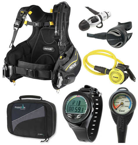 9. Oceanic Scuba Diving Gear Equipment Package, (bcd/computer/regulator/octo)