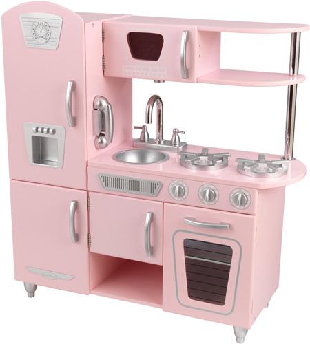 6. Kidkraft Vintage Kitchen33 inches x 11.7 inches x 35.7 inchesAvailable in Pink ONLY CHOKING HAZARD Recommended for Ages 3 & Up
