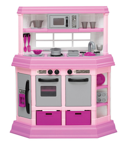 9. American Plastic Toy Deluxe Custom Kitchen33 inches W x 12 inches D x 38 inches HAvailable in Pink Includes approx. 22 accessory pieces (Made in USA)CHOKING HAZARD, Recommended for ages 3 & up