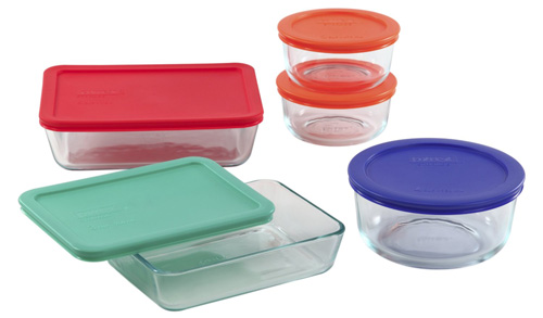 3. Pyrex 10 Piece Storage Set with Plastic Covers