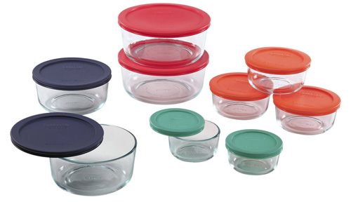 4. Pyrex 1110141 18Pc Glass Food Storage with Multi-colored Lids