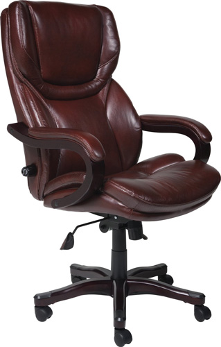 9. Serta 43506 Bonded Leather Big & Tall Executive Chair, Brown