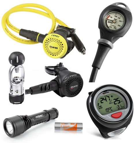 6. Mares Rover Regulator Puck Dive Computer Scuba Gear Package with LED Dive Light