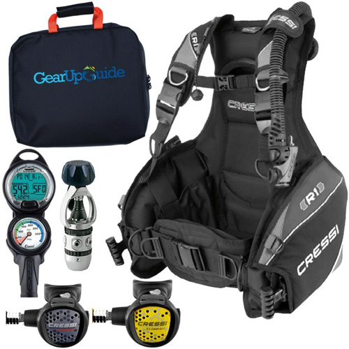 2. Cressi R1 BCD Leonardo Dive Computer AC2 Compact Regulator Set GupG Reg BagScuba Diving Package