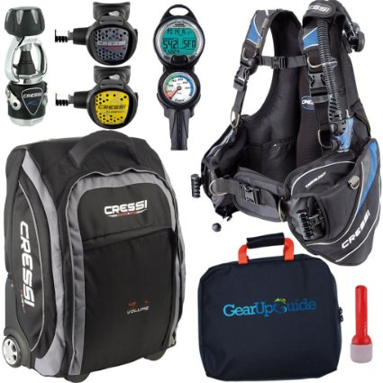 1. Cressi Travel Light 15 LBS Scuba Diving Package Carry On Reg Set Dive Computer GupG Reg Bag and or i-Torch Bundle 6-7, Best Scuba Gear Packages