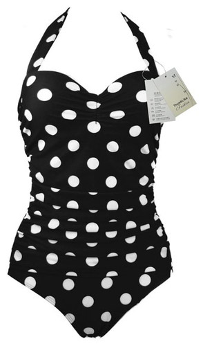 9. Women's 50s Retro Vintage White Polka Dot One Piece Swimsuit by ThumbLike