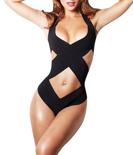 8. Women's One Piece Monokini Bathing Suit in Black by Creabygirls