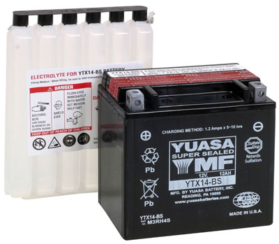 8. YUASA YTX14-BS Maintenance Free Battery