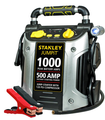 6. Stanley J5C09 1000 Peak Amp Jump Starter with Built in Compressor