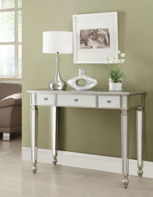 3. Coaster Home Furnishings Contemporary Console Table, Antique Silver