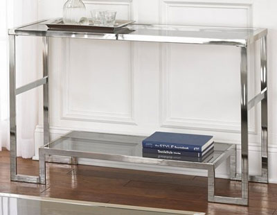 1. Contemporary Modern Chrome Metal and Glass Sofa Console Table - Narrow Side Table for Living Room - Hall Entryway Table - Hallway Furniture