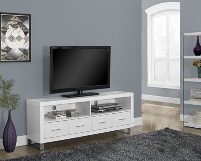 10. Monarch Specialties White Hollow-Core TV Console with 4 Drawers, 60-Inch