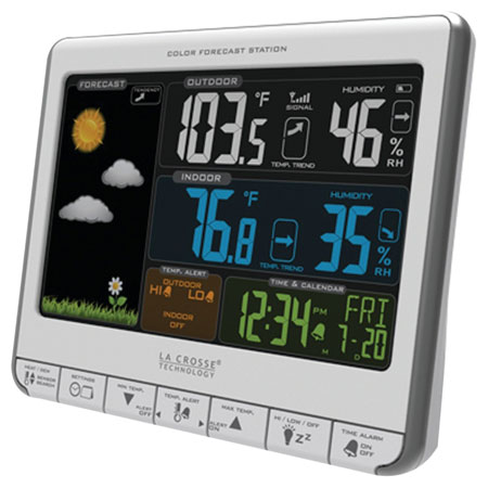 4.  La Crosse Technology 308-1412S Color LCD Wireless Weather Station With USB Charging Port and Customizable Temperature Alerts