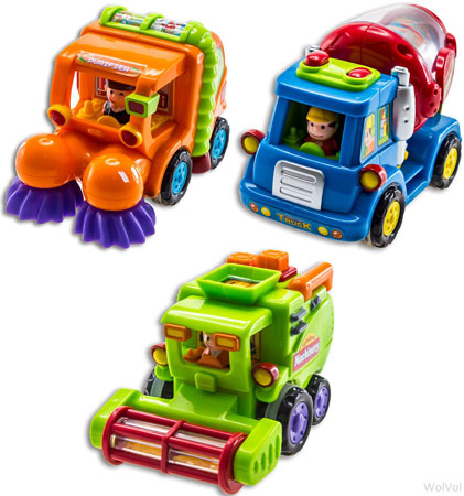 8.WolVol (Set of 3) Push and Go Friction Powered Car Toys, Street Sweeper Truck, Cement Mixer Truck, Harvest Toy Truck-Great Gift Toys For Boys