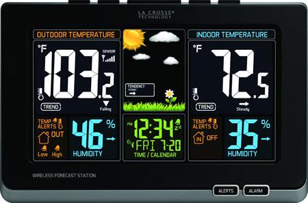 3. La Crosse Technology 308-1414B Wireless Atomic Digital Color Forecast Station With Alerts, Black